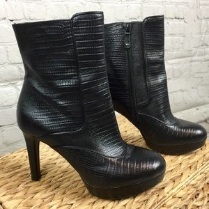 Rockport platform ankle boots reptile leather 7.5
